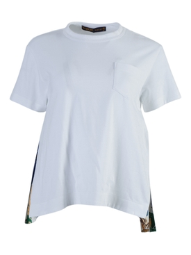 White Side Pleats Crew-neck T-Shirt