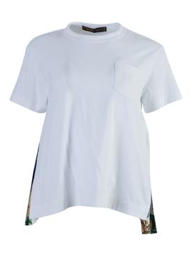 White Side Pleats Crew-neck T-Shirt