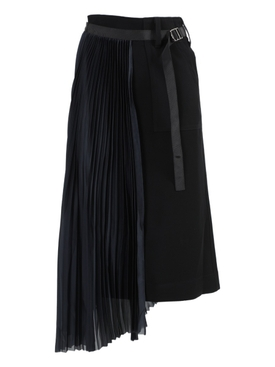 Black Asymmetric Satin Skirt