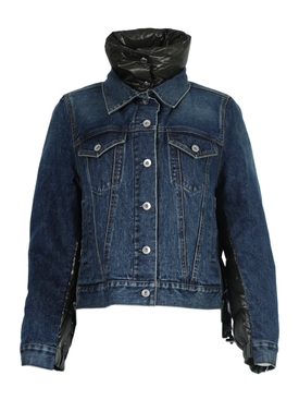 BLUE AND BLACK PADDED DENIM JACKET