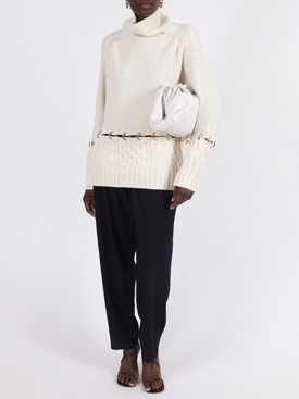 Off-white wool knit pullover sweater