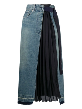 Blue pleated paneled denim skirt