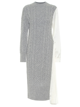 Grey and ecru Wool knit dress