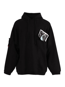 Raf Simons - Patches And Pins Logo Hoodie Black - Men