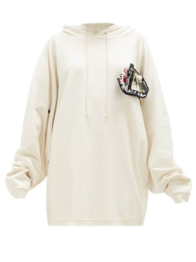 Raf Simons - Patches And Pins Logo Hoodie Ecru - Men