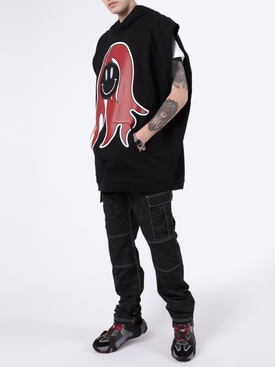 Black Happy Face Logo Vest Hoodie