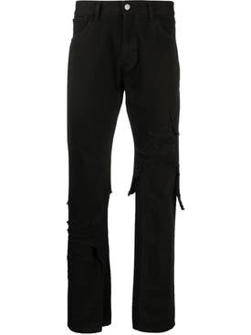 Raf Simons - Layered Distressed Denim Jeans Black - Men