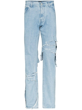 Layered distressed denim jeans BLUE