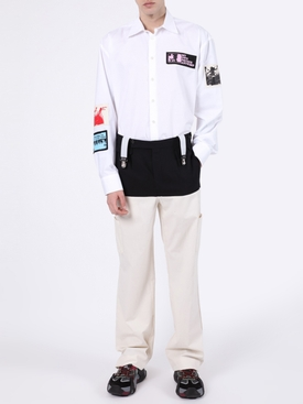 Color-blocked Suspender Pants BLACK/ ECRU