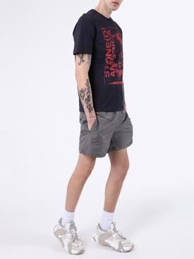 Check print swim shorts BLACK/ WHITE