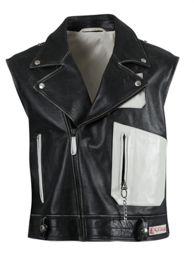 Black and White Sleeveless Perfecto Vest Jacket