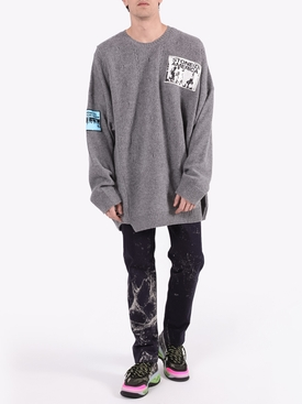Over-sized crewneck patch sweater GREY