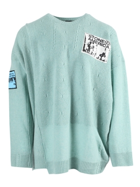 Raf Simons - Over-sized Crewneck Patch Sweater Light Blue - Men