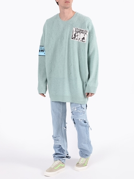 Over-sized crewneck patch sweater LIGHT BLUE