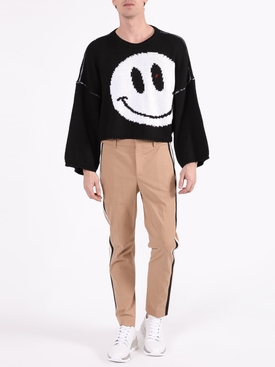 Happy Face Cropped Jumper BLACK