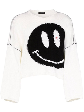 Happy Face Cropped Jumper WHITE