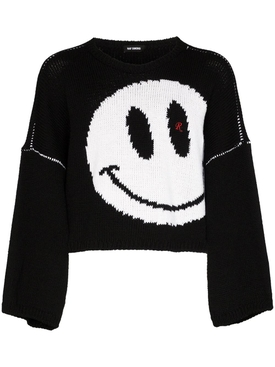 Raf Simons - Happy Face Cropped Jumper Black - Men