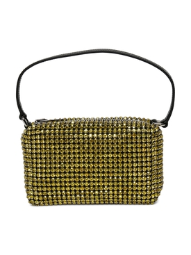 HEIRESS MEDIUM POUCH, LEMON RHINESTONE MESH