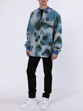 Blue Splatter Print Long Sleeve Top