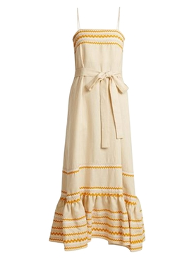 Maxi Linen Belted Dress