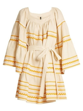 Short Linen Peasant Dress