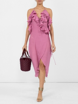 Plunge Neck Ruffle Wrap Dress
