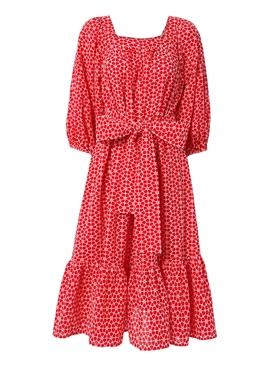 Laure midi eyelet dress RED