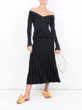 striped fine knit sweater BLACK
