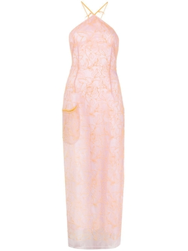 Jacquemus - Orange And Lavender Lace Halter Dress - Women