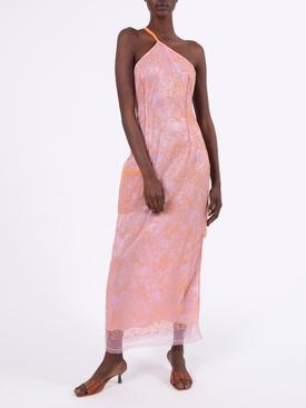 Orange and lavender lace halter dress