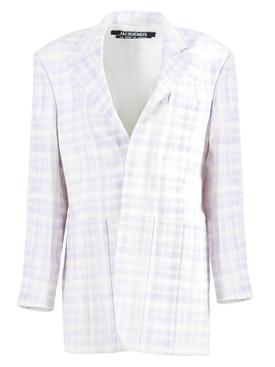 Lilac Check Print La Veste D'Homme Blazer