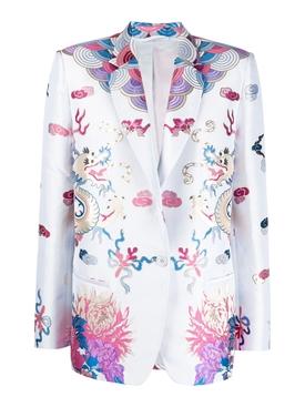Multicolored Print Blazer Jacket