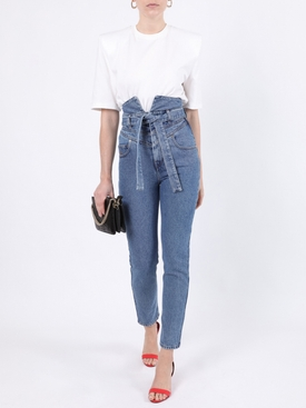 High-waisted paper bag denim jeans
