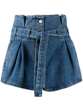 Attico - Blue Denim Paper-bag Shorts - Women