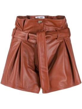 Cognac leather shorts