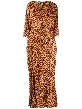 SLIT LEOPARD PRINT DRESS