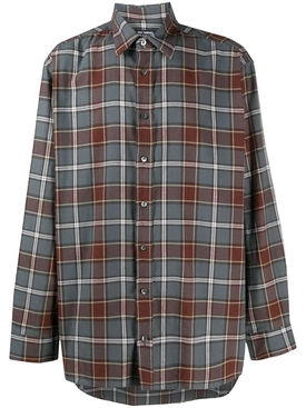 GREY AND BROWN CHECK PRINT SHIRT