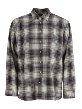 Tobacco brown oversized check print shirt