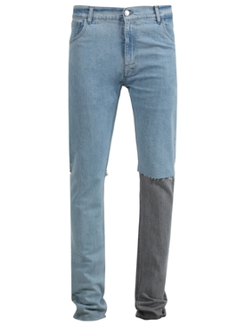 SLIM FIT DOUBLE DESTROYED DENIM PANTS VERY LIGHT BLUE