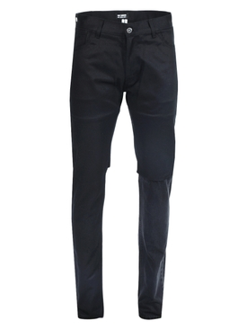 SLIM FIT DOUBLE DESTROYED DENIM PANTS BLACK