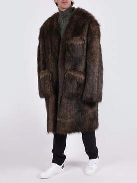 Faux fur labo coat BROWN