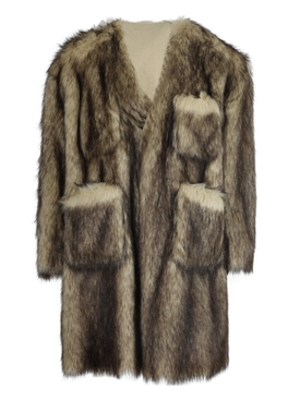 Faux fur labo coat OFF-WHITE BLACK
