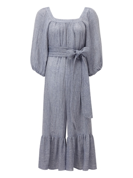 laure blue linen jumpsuit