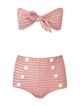Pink Poppy Button High-Waisted Bikini