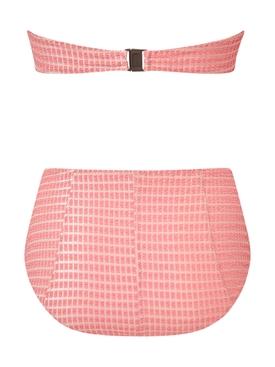 Pink Poppy Button High-Waisted Bikini