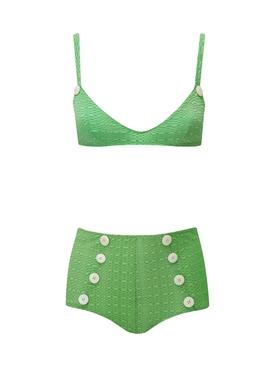Green Magdalena Button High-Waisted Bikini