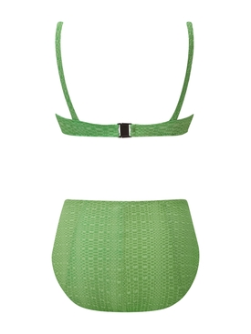 Green Magdalena Button High-Waisted Bikini