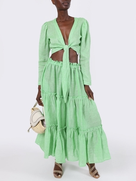 Bright Green Ruffle Peasant Skirt