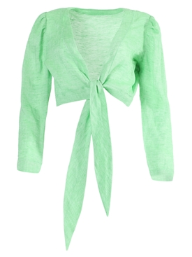 Bright green tie blouse