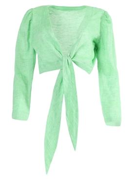 Bright green tie blouse